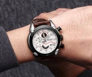 Ceas Megir 2045 - | Fashion | Sport | Cronograf | Alb | Curea piele |