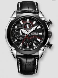 Ceas Megir 2045 - | Fashion | Sport | Cronograf | Negru | Curea piele |