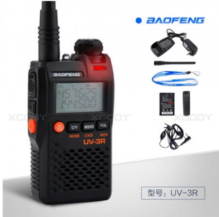 Statie radio Baofeng UV-3R mini Walkie Talkie , FM tranciever, 99 CH, dual band VHF, UHF radio FM