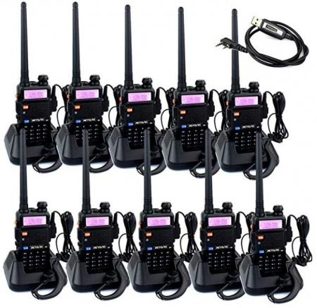Set 10 statii radio Baofeng UV-5R Dual Band Tranciever + Bonus Casti cu microfon incluse0