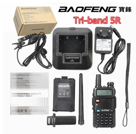 Statie Radio Walkie Talkie Baofeng UV-5R 3 Frecvente Dual Band Transceiver Inclus Casti cu microfon