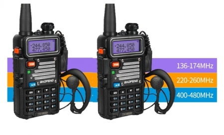Set 2 statii radio Baofeng UV-5R 3 Frecvente Dual Band Tranciever + Bonus Casti cu microfon incluse0