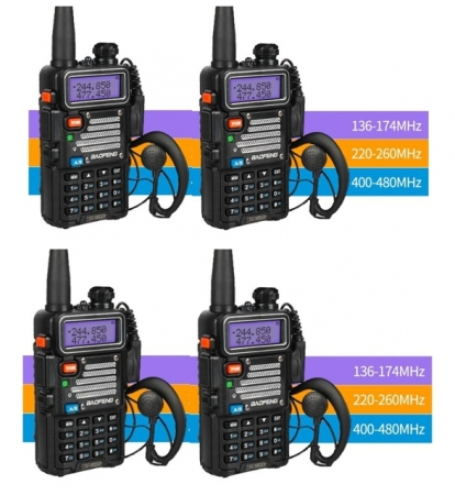 Set 4 statii radio Baofeng UV-5R 3 Frecvente Dual Band Tranciever + Bonus Casti cu microfon incluse