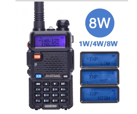 Statie Radio Walkie Talkie Baofeng UV-5R 8W Dual Band Transceiver