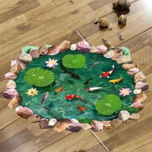 Autocolant 3D pentru podea - Pesti si nuferi - 60x90 cm