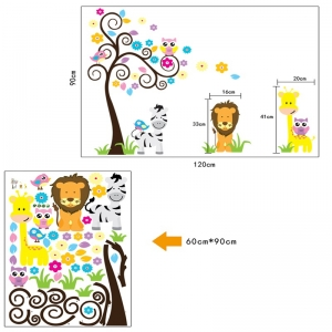Autocolant decorativ - Copac carliontat si animalute6
