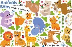 Autocolant decorativ pentru copii - Pui de animale5