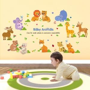 Autocolant decorativ pentru copii - Pui de animale0