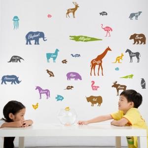 Autocolant educativ  - Siluetele animalelor si denumirea lor - 65x60 cm