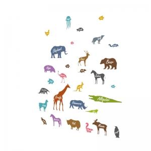 Autocolant educativ  - Siluetele animalelor si denumirea lor - 65x60 cm4