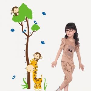 Autocolant masurator inaltime - copac cu girafa si maimute - grafic de crestere4