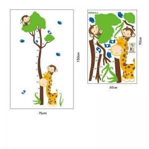 Autocolant masurator inaltime - copac cu girafa si maimute - grafic de crestere6