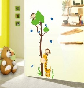 Autocolant masurator inaltime - copac cu girafa si maimute - grafic de crestere3