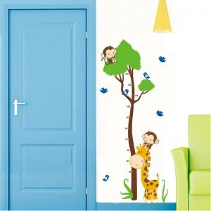 Autocolant masurator inaltime - copac cu girafa si maimute - grafic de crestere5