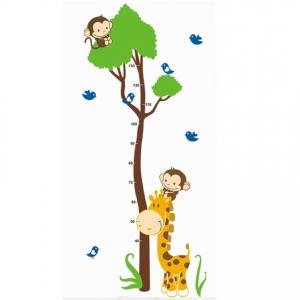 Autocolant masurator inaltime - copac cu girafa si maimute - grafic de crestere7