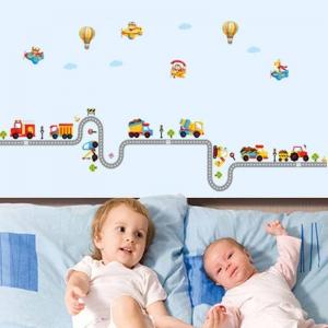 Autocolant pentru perete camere baieti - Masini, avioane si baloane