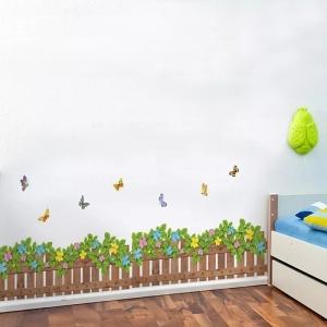 Stickere tip brau decorativ - Gradinita cu flori si fluturasi - 132x35 cm3