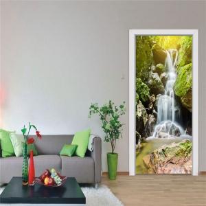 Autocolant usi interior - Cascada pe stanca - 2 folii de 38,5x200 cm