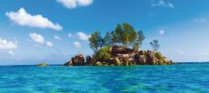 Fototapet Insula cu Stanci si Ape Tropicale0