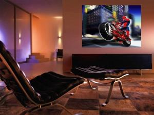 Fototapet Spiderman si Motocicleta1