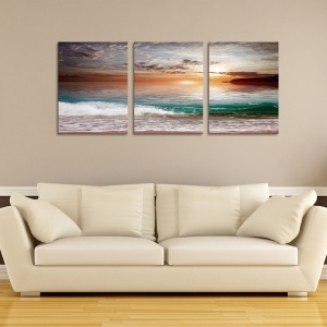 Set Tablouri Canvas - 3 piese - Mare la apus - 96x40 cm