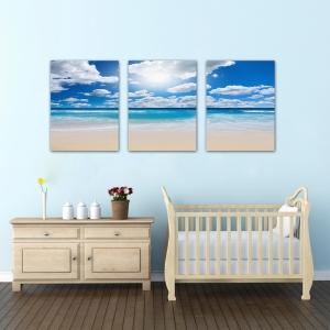 Set Tablouri Canvas - 3 piese - Plaja sub cer albastru - 96x40 cm