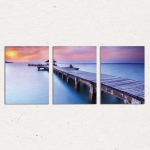 Set Tablouri Canvas - 3 piese - Ponton sub Asfintit Violet - 78x36 cm3