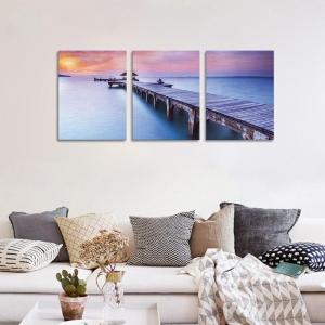 Set Tablouri Canvas - 3 piese - Ponton sub Asfintit Violet - 78x36 cm2
