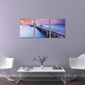 Set Tablouri Canvas - 3 piese - Ponton sub Asfintit Violet - 78x36 cm0