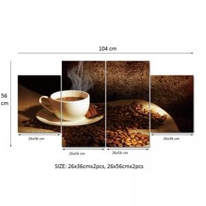 Set Tablouri Canvas - 4 piese - Ceasca si Boabe de Cafea - 104x56 cm4