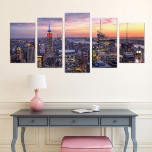 Set Tablouri Canvas - 5 piese - Oras Luminat - 113x56 cm