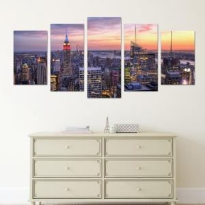 Set Tablouri Canvas - 5 piese - Oras Luminat - 113x56 cm0