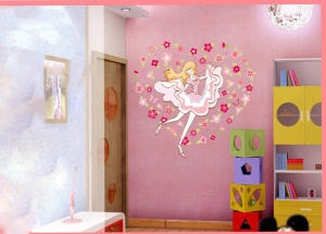 Sticker camera fete  - Balerina printre flori