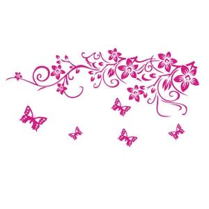 Sticker camera zi - Flori si fluturasi roz1