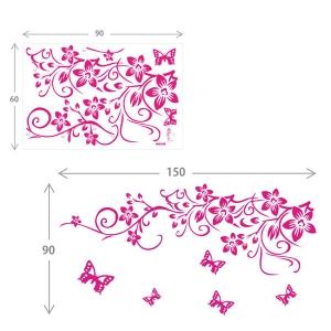 Sticker camera zi - Flori si fluturasi roz2