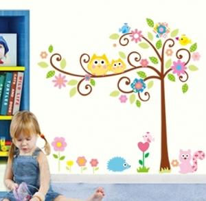 Sticker camere copii - Bufnite pe creanga