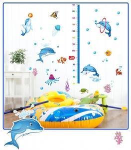 Sticker copii masurator inaltime - Joaca cu delfinii - Grafic de crestere