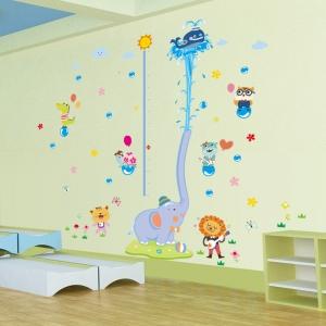 Sticker de perete camere copii - Grafic de crestere cu animale- masurator inaltime3