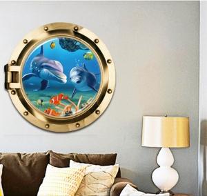 Sticker decorativ 3D - Delfini prin hublou1