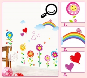 Sticker decorativ copii - Floricele sub curcubeu