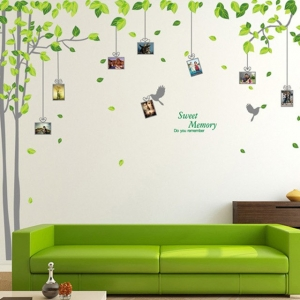 Sticker decorativ - Padure verde cu rame foto1