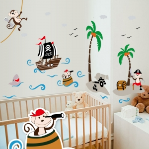Sticker decorativ pentru baieti - Piratii naufragiati0