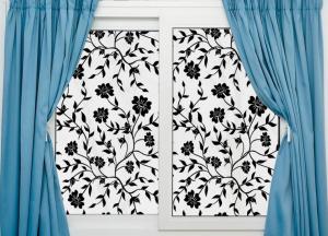 Sticker decorativ pentru geamuri  - Model floral - efect geam sablat - 90 cm latime