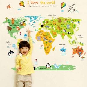 Sticker educativ - Harta animata a lumii pentru copii2