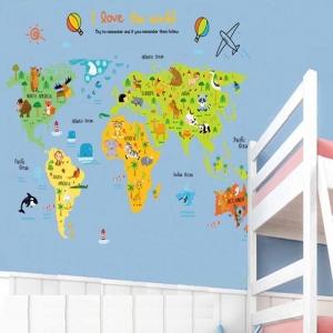 Sticker educativ - Harta animata a lumii pentru copii1