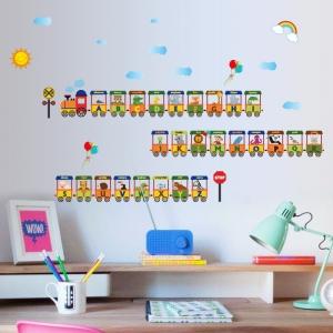 Sticker educativ - Vagoane cu literele alfabetului