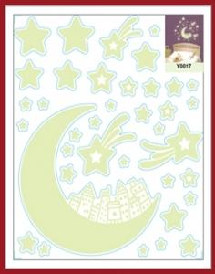 Sticker fosforescent - Luna si stele1