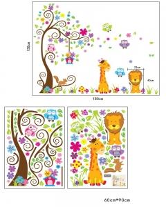 Sticker gigant de perete pentru copii - Copacel si animale diverse