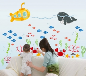 Sticker pentru camere bebelusi - Submarinul galben1