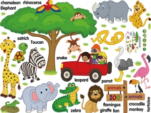 Sticker perete camere copii - Animale in limba engleza